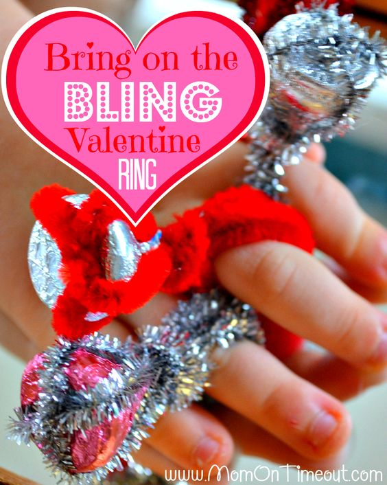 Valentine's bling! Easy to make children's craft for Valentine's day - made from Hershey's kisses!