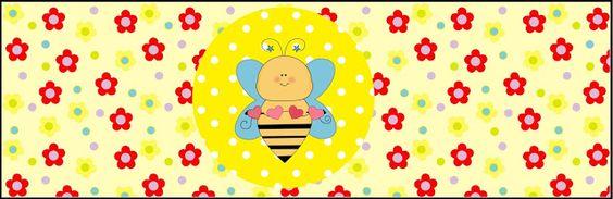 Tarjetería de abejas y flores.