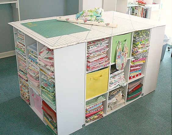 """great cutting """"table"""" made out of book cases!!!  I can do this!"""