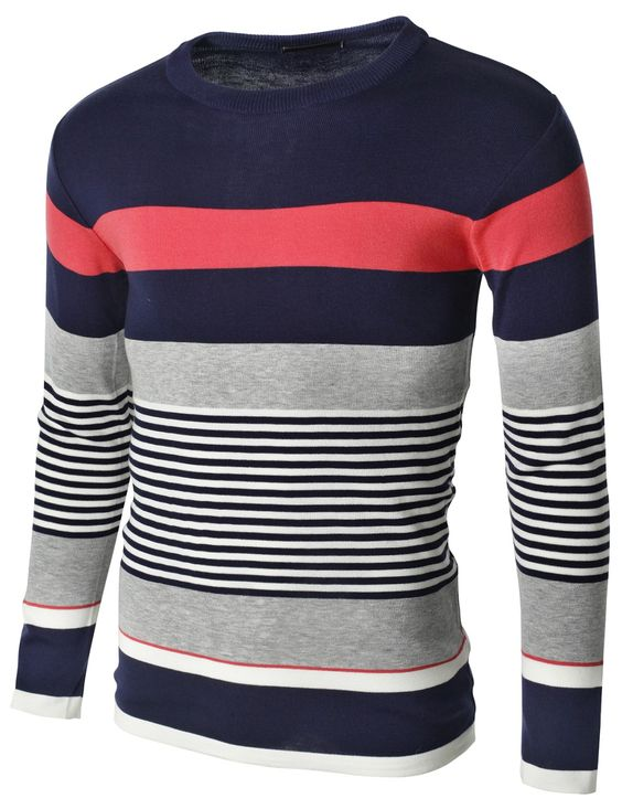 Doublju Mens Crew Neck Multi-Blocking Stripe Sweater Pullover (KMOSWL054) #doublju