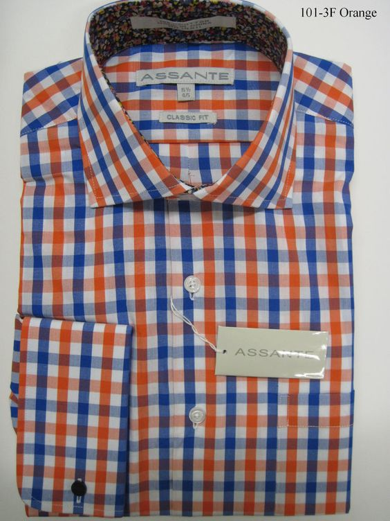 Details about assante gingham check french cuff dress for Gingham french cuff shirt