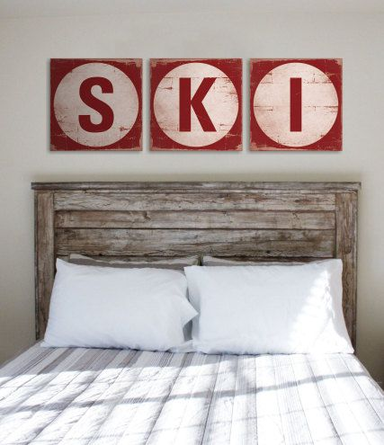 Ski Triptych 3 Handcrafted Rustic Wood Signs Mountain