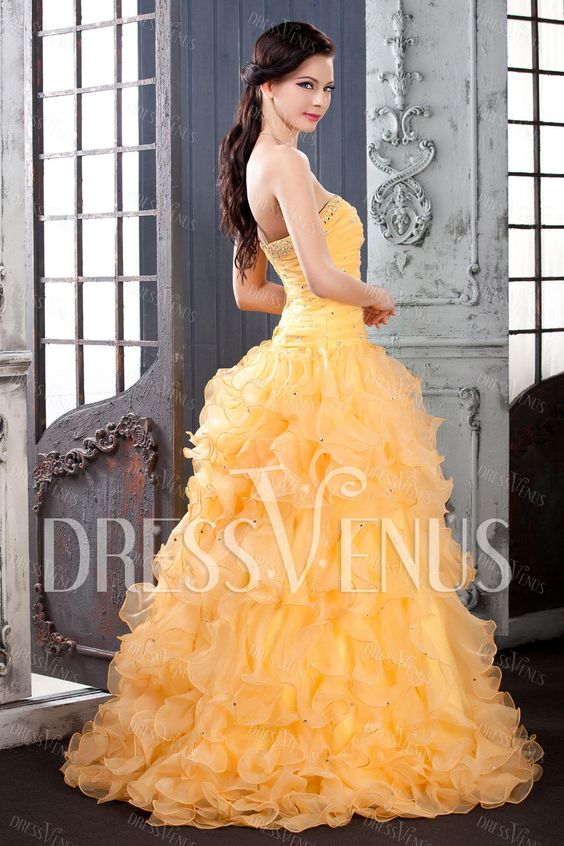 Sweetheart Floor-Length Ruffles Polina's Quinceanera Dress. Looks like something Belle from #beautyandthebeast would wear! :)