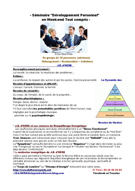 """Séminaires de """"Développement Personnel"""" de J.B. d'HERA"""