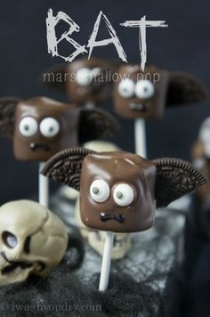 Bat Halloween Marshmallow Pop, Oreos would not stay put so I ended up making mummies instead