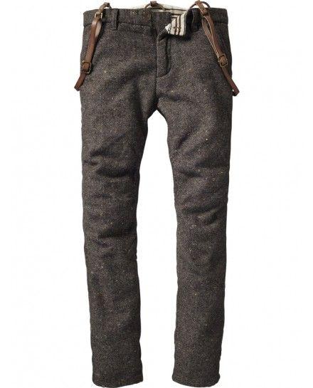 Woolen pants with suspenders