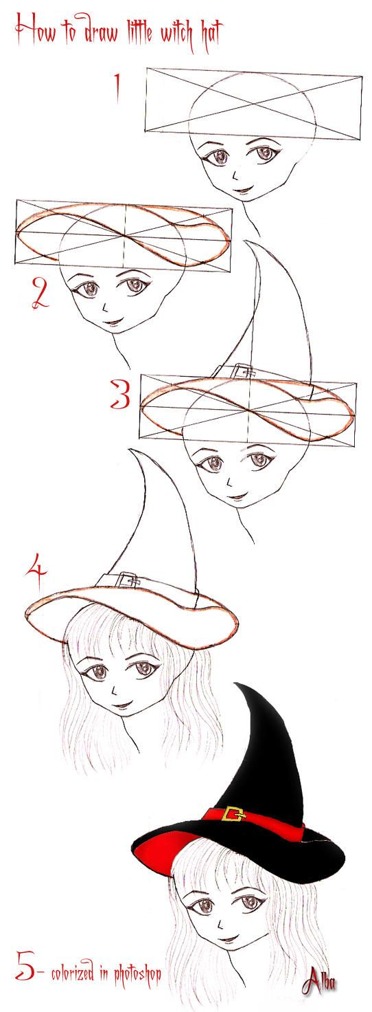 Tutorial Little Witch Hat By Lamorghana Witch Drawing Drawing Tutorial Witch Hat Diy