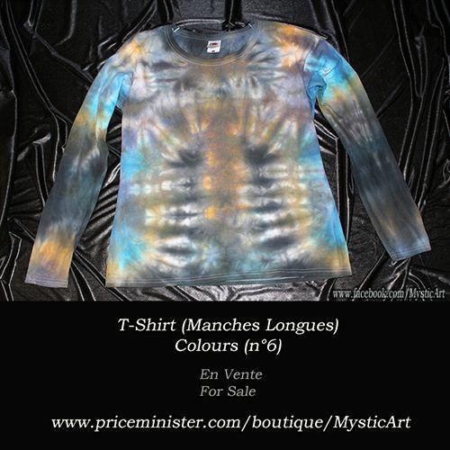 T-Shirt Femme - manches longues. Gris/Bleu/Jaune Taille L (38/40) En Vente/For Sale