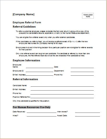 Employee referral form download at for Referral document template