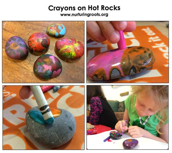 Crayons on hot rocks