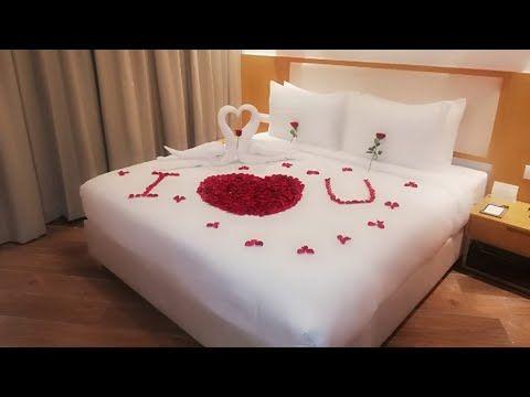 First Night Bedroom Decoration Honeymoon Anniversary Towel Art Youtube Bedroom Night Romantic Bedroom Decor Bed Decor