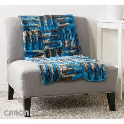 Parquet Tiles Crochet Blanket | Caron | Free Pattern | Easy pattern |  Home Decor