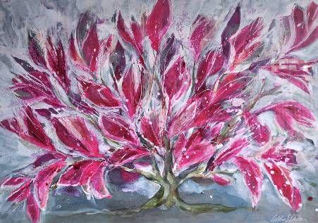 """Pink Bush II"" Original# Art by Artist Idoline Duke Mixed Media #PalmBeach #Mecox #interiordesign #MecoxGardens #furniture #shopping #home #decor #design #room #designidea #vintage #antiques #garden"