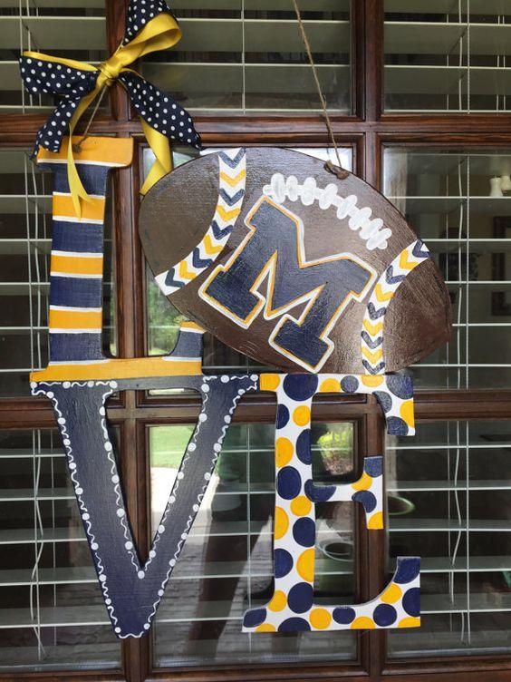 Michigan Football Door Hanger Michigan Football by OneCraftyWifey
