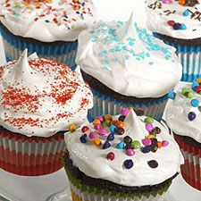 Favorite Fudge Birthday Cupcakes with 7-Minute Icing: King Arthur Flour