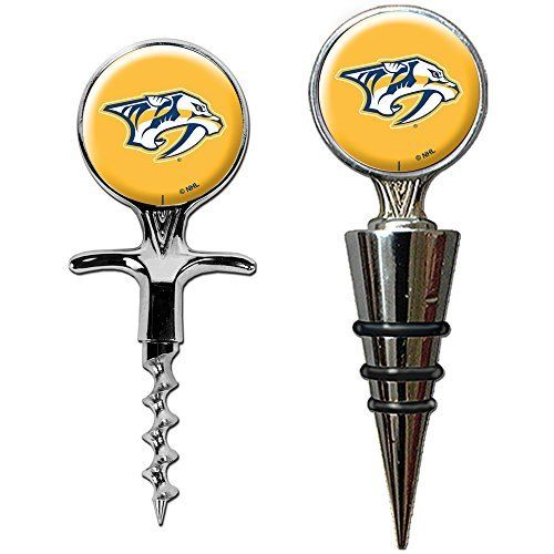 NHL Cork Screw and Wine Bottle Topper Set by Great American Products. Features a cork screw and bottle topper decorated with hand-crafted metal Team Logos. The perfect compliment to your Bar or Game Room dÃE©cor.