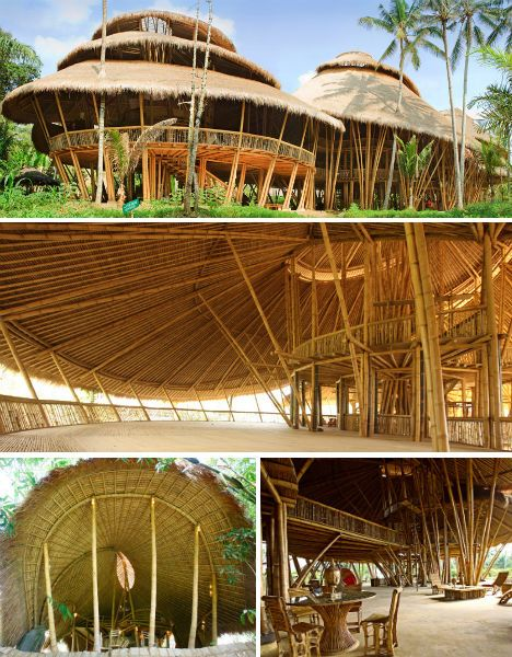 Have you ever seen a school made entirely out of bamboo? The Green School in Bali is unusual in a number of ways, from its sustainable curriculum to the degree of freedom enjoyed by the students, but it is the structures themselves that are often the center of attention for visitors. The Green School chose bamboo because it's green, renewable and very plentiful in Bali.: