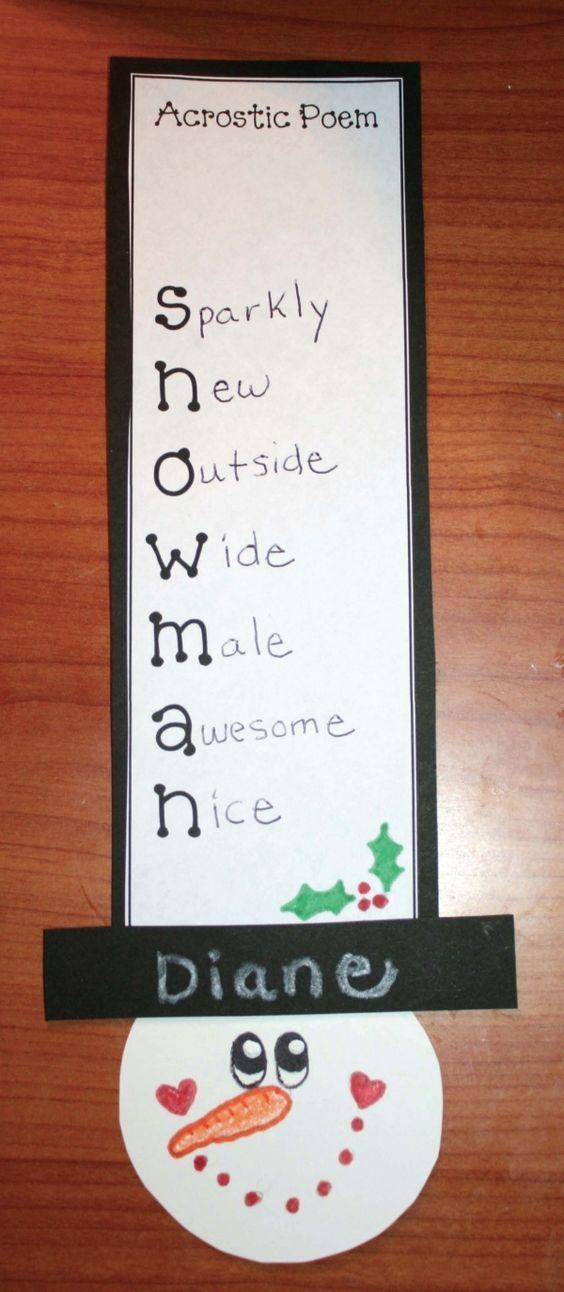 Snow Acrostic Poems poem and snowman on pinterest