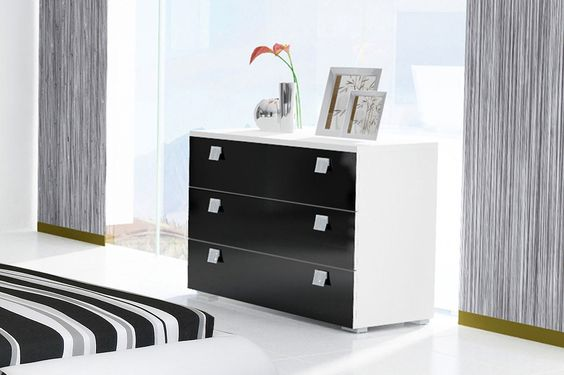 C moda de dise o minimalista en color negro con tres - Muebles bonitos com ...