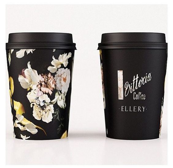 Gorgeous Ellery designed Vittoria Coffee takeaway cups for Australian Fashion Week. #packaging