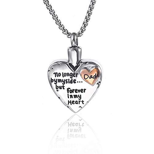 Dad Urn Necklace Cremation Jewelry For Ashes No Longer By My Side But Forever In My Heart Memorial Pendant Necklaces Jewelry Women Clothing Sh