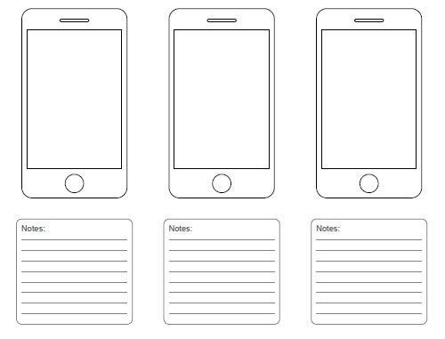 free printable sketching wireframing and note taking pdf templates pinterest app design. Black Bedroom Furniture Sets. Home Design Ideas