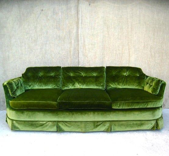 bright moss green velvet sofa vintage chic pinterest. Black Bedroom Furniture Sets. Home Design Ideas