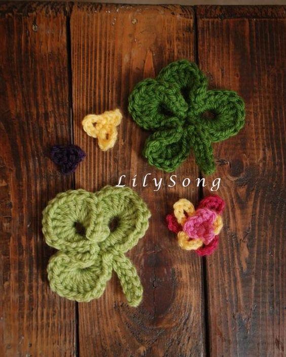 Crochet Hair Styles Diy : FREE Clover Crochet Embellishments #Recipe #hair #food #DIY DIY Hair ...