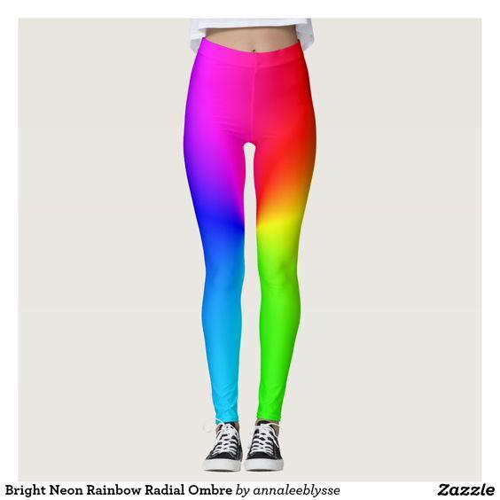 Bright Neon Rainbow Radial Ombre Leggings