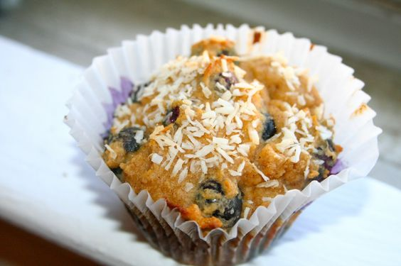 Paleo Cinnamon Coconut Blueberry Muffins