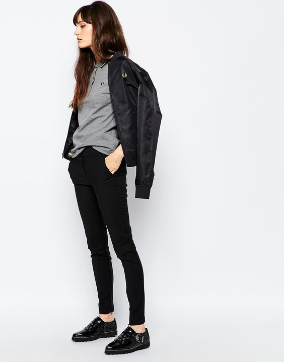 Pick pants that are an inch shorter, ditch your socks. This outfit retains a femininity despite the ostensible nonchalance and lack of frivolity.