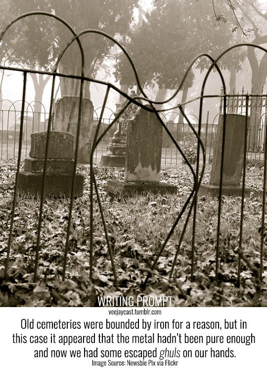 Prompt: Old cemeteries were bounded by iron for a reason, but in this case it appeared that the metal hadn't been pure enough and now we had some escaped ghuls on our hands. Image Source: micadew via...: