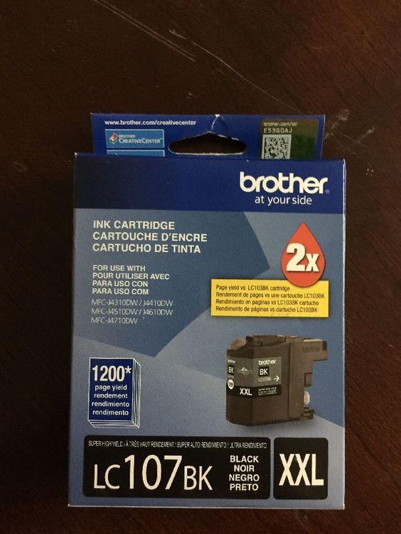 New Brother LC107BK XXL Black Ink Cartridge Genuine MFC J4710DW Exp 06 2016   eBay