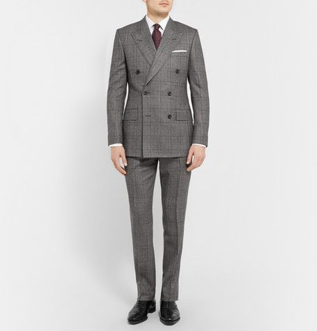 Kingsman Grey Double-Breasted Glen Check Suit | Fashion Details