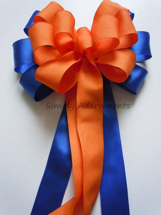 blue orange wedding pew bow royal blue orange church aisle pew bow