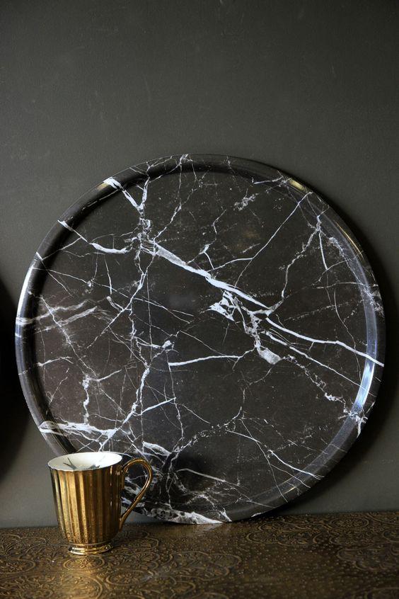 Black Marble Printed Melamine Tray