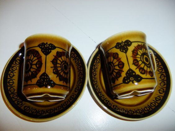 Vintage Set of two 1970s Sera coffee cups and saucers by Inger Waage for Stavangerflint Norway by AnnChristinsVintage on Etsy
