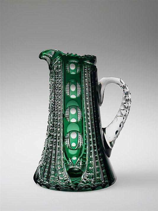 Boston & Sandwich Glass Company pitcher, blown and cut glass, circa 1843-67, USA