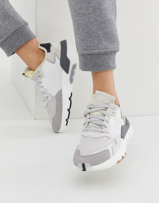 adidas Originals white and gray Nite Jogger sneakers