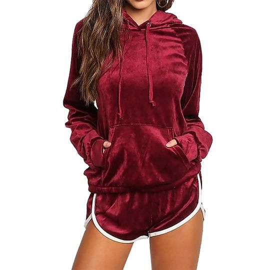 NEW Womens Fashion Casual Velvet Hoodies Women Fashion Tops Pullovers Tracksuits