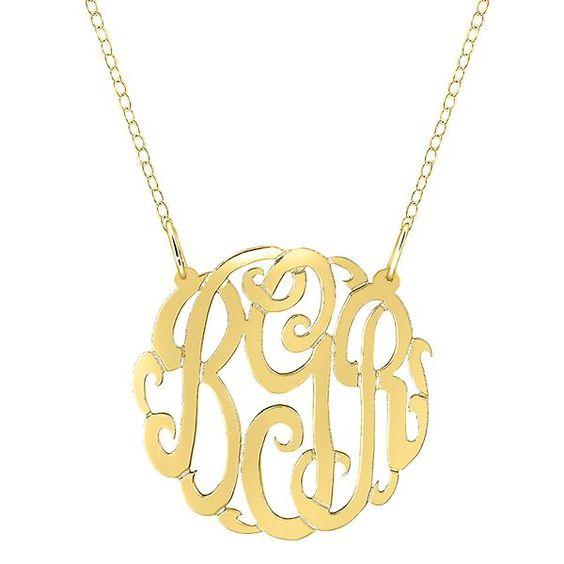 Large Monogram Necklace in 24K Gold over Sterling Silver