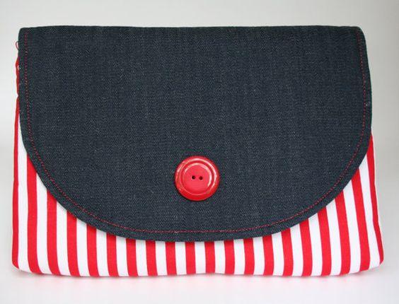 Denim and Red Stripes Clutch/ Nautical Clutch.