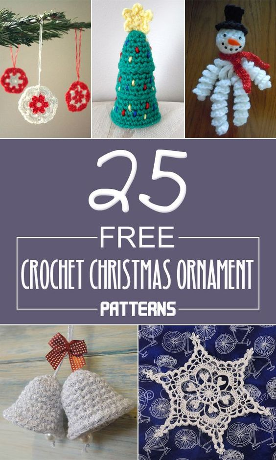 Here you can find a beautiful collection of 25 crochet Christmas ornaments to decorate your Christmas tree.: