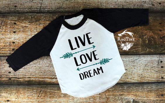 Live Love Dream, Seek Adventure, Good Vibes Only, Peace, New Baby, Warrior, American Apparel, Raglan, Boy, Girl, Baby, Unisex clothing by RagTine on Etsy