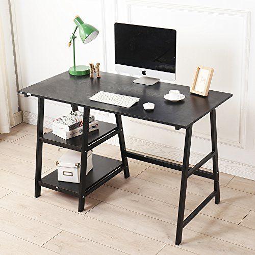 Sogeshome Computer Desk 47inches Trestle Desk Pc Desk Office Desk Workstation Writing Table With Shelf For Home Office Use Bla Trestle Desk Pc Desk Office Desk