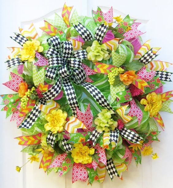 Spring Deco Mesh Wreath Mesh Spring Wreath by PinkBluebonnet