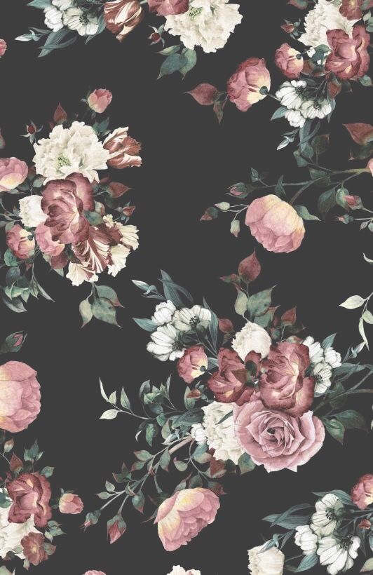 Pinterest Brittttx0 Vintage Floral Wallpapers Black Floral