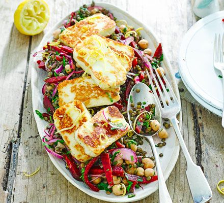A great storecupboard salad, topped with golden brown halloumi and quick, homemade pickled red onion