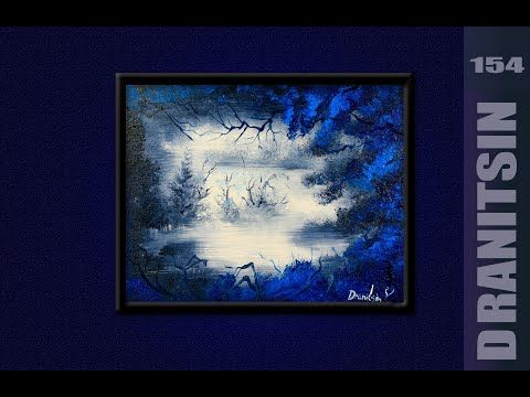 Unique Painting Approach Blue Tree Abstract Black And White Background Oval Brush 154 Youtube In 2020 Unique Paintings Black And White Background Blue Tree