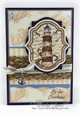 beautiful card using Oceanside Medallions and Ticking Stripe Background - designed by Kathy Jones